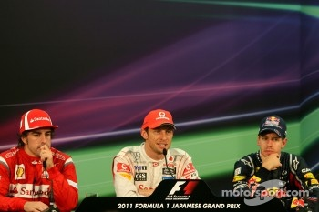 Fernando Alonso, Scuderia Ferrari, Sebastian Vettel, Red Bull Racing and Jenson Button, McLaren Mercedes
