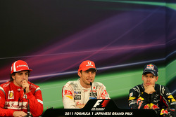 Fernando Alonso, Scuderia Ferrari, Sebastian Vettel, Red Bull Racing and Jenson Button, McLaren Mercedes
