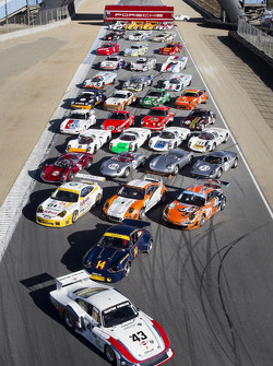 The Porsche family of cars present for this year's Porsche Rennsport Reunion IV