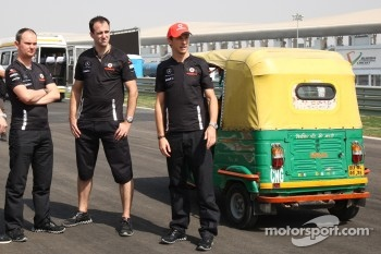 Jenson Button, McLaren Mercedes in a Rickshaw