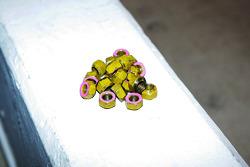 Lug nuts on pit wall