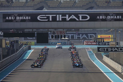 GP2 cars lined up on the grid