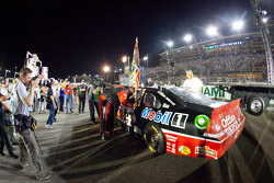 NASCAR Sprint Cup Series 2011 champion Tony Stewart, Stewart-Haas Racing Chevrolet celebrates