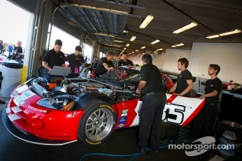 Racers Edge Motorsports team members work on the Dodge Viper