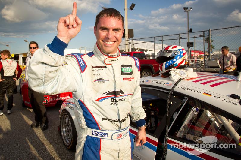 GT pole winner Andrew Davis celebrates