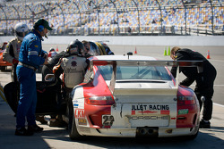 Pit stop for #22 Bullet Racing Porsche GT3: Randy Blaylock, Darryl O'Young, Kevin Roush, Brett Van Blankers, Joe White