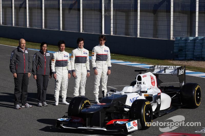 Peter Sauber, Sauber F1 Team, Team Principal with Monisha Kaltenborn, Managing director, Sauber F1 Team Kamui Kobayashi, Sauber F1 Team, Sergio Perez, Sauber F1 Team and Esteban Gutierrez, Sauber F1 Team