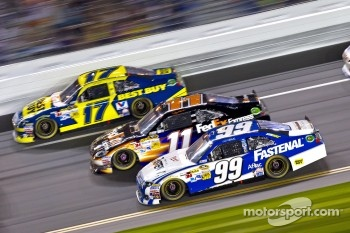 Carl Edwards, Roush Fenway Racing Ford, Denny Hamlin, Joe Gibbs Racing Toyota, Matt Kenseth, Roush Fenway Racing Ford