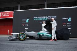 Nico Rosberg, Mercedes GP and Michael Schumacher, Mercedes GP unveil the new W03
