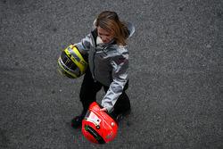 Helmet of Michael Schumacher, Mercedes GP and Nico Rosberg, Mercedes GP
