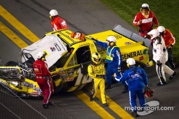 Jason Leffler, Kyle Busch Motorsports Toyota after the crash