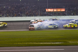 Crash with Tony Stewart, Stewart-Haas Racing Chevrolet, Ricky Stenhouse Jr., Roush Fenway Racing Ford, Dave Blaney, Tommy Baldwin Racing Chevrolet, David Reutimann, BK Racing Toyota and Ryan Newman, Stewart-Haas Racing Chevrolet