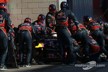 Sebastian Vettel, Red Bull Racing pit stop