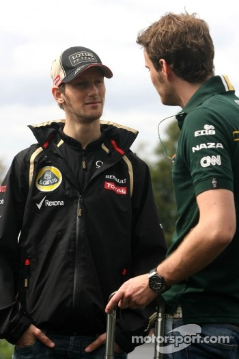 Romain Grosjean, Lotus F1 Team and Giedo van der Garde, Caterham F1 Team