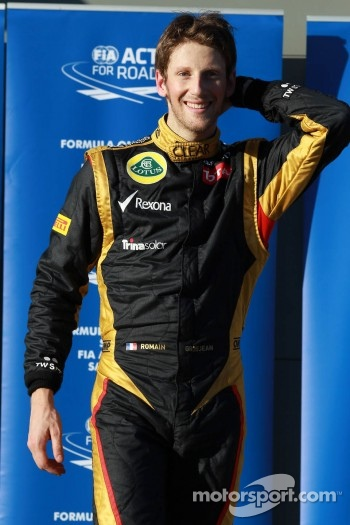 Third place Romain Grosjean, Lotus Renault F1 Team