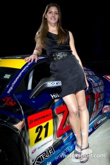 Audi R8 GT Spyder launch event in Tokyo: Cyndie Allemann poses with her Audi R8 LMS Super GT race car