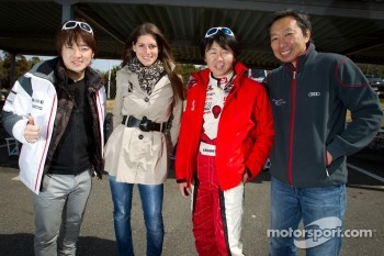 Go-kart charity event: Cyndie Allemann, Akira Mizutani, Michael Kim