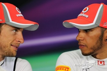 Jenson Button, McLaren Mercedes with team mate Lewis Hamilton, McLaren Mercedes in the FIA Press Conference