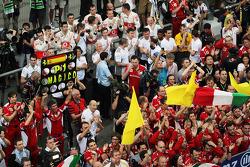 Ferrari celebrate victory in parc ferme with Sauber and McLaren