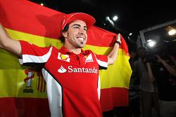 Race winner Fernando Alonso, Ferrari celebrates after the race