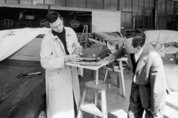 Ferry (right) and Ferdinand Alexander Porsche in the Porsche Design-Studio (ca. 1959)