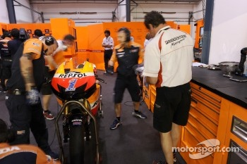 Repsol Honda team members at work