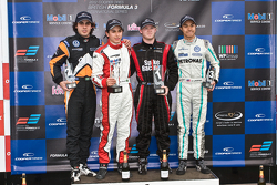 Podium from left: Pietro Fantin, Pipo Derani, Spike Goddard and Jazeman Jaafar