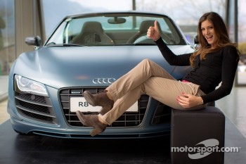 Cyndie Allemann with the Audi R8 GT Spyder