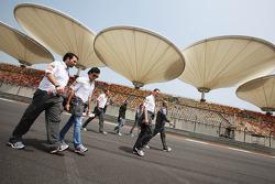 Sergio Perez, Sauber F1 Team walks the circuit