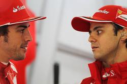 Fernando Alonso, Scuderia Ferrari with team mate Felipe Massa, Scuderia Ferrari