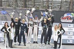 ALMS P1 podium: race winners Lucas Luhr, Klaus Graf, second place Chris Dyson, Guy Smith, third place Michael Marsal, Eric Lux