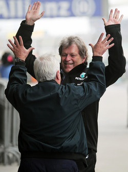 Norbert Haug, Mercedes Sporting Director celebrates victory for Nico Rosberg, Mercedes AMG F1