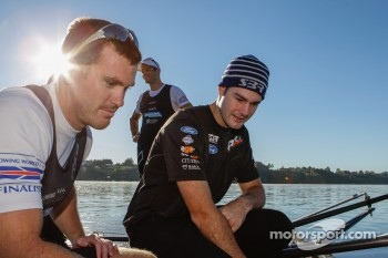 Shane Van Gisbergen at training  with current double world sculls rowing champions Nathan Cohen