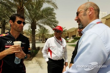 Mark Webber, Red Bull Racing with Zayed Rashed Al Zayani, Chairman of Bharain International Circuit; Dr Jasim Husain, Researcher on Gulf Cooperation Council, Economics and Norman Howell, FIA Director of Communications