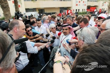 Bernie Ecclestone, CEO Formula One Group, with Crown Prince Shaikh Salman bin Isa Hamad Al Khalifa, and the media