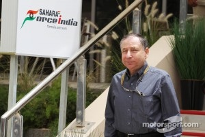 Jean Todt, FIA President leaves Sahara Force India F1 Team paddock building