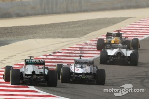 Michael Schumacher, Mercedes AMG F1 and Pastor Maldonado, Williams