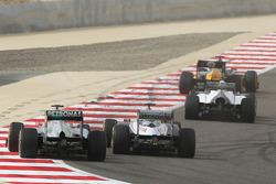 Michael Schumacher, Mercedes AMG F1 and Pastor Maldonado, Williams