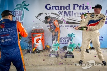 DP podium: Darren Law sprays champagne