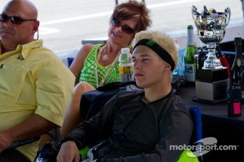 James Rispoli watching the SportBike Race #2 after winning SuperSport Race #2
