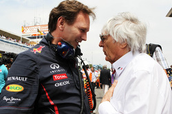 Christian Horner, Red Bull Racing Team Principal with Bernie Ecclestone, CEO Formula One Group, on the grid