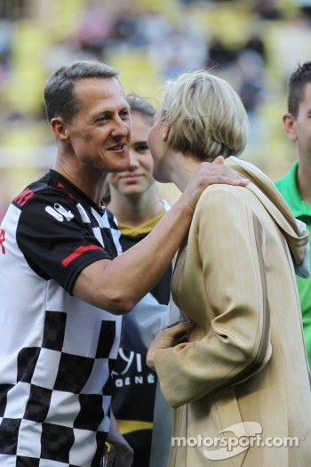 Michael Schumacher, Mercedes AMG F1 with Princess Charlene of Monaco at the charity football match