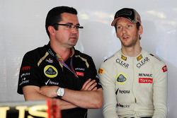 Eric Boullier, Lotus F1 Team Principal with Romain Grosjean, Lotus F1 Team