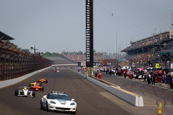 Pace car leads the field on the restart