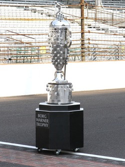 The Borg Warner Trophy sits on the yard of bricks