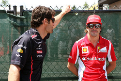 Mark Webber, Red Bull Racing with Fernando Alonso, Scuderia Ferrari