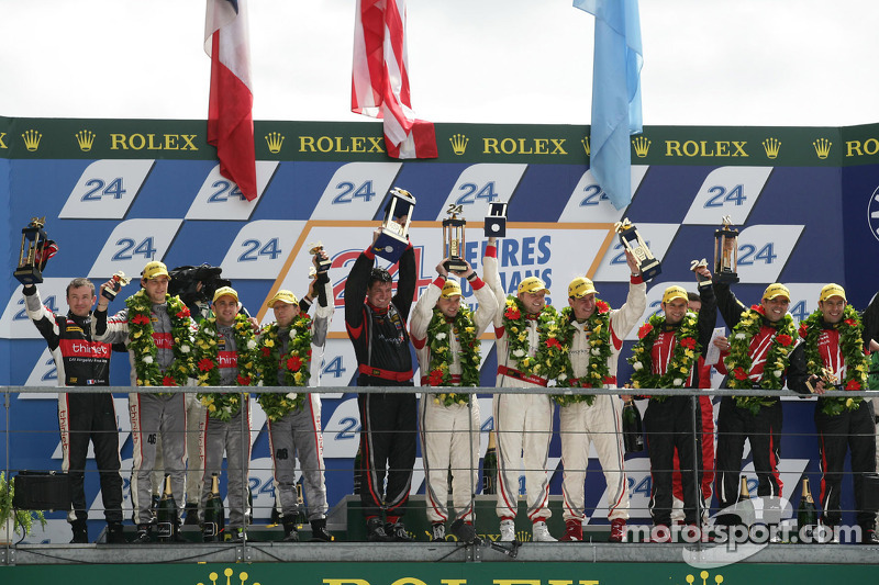 LMP2 podium: second place Pierre Thiriet, Mathias Beche, Christophe Tinseau