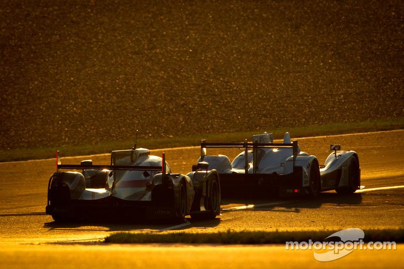 #38 Jota Zytek Z11SN Nissan: Sam Hancock, Simon Dolan, Haruki Kurosawa, #3 Audi Sport Team Joest Audi R18 Ultra: Marc Gene, Romain Dumas, Loic Duval