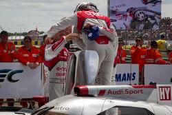 Race winners #1 Audi Sport Team Joest Audi R18 E-Tron Quattro: Marcel Fässler, Andre Lotterer, Benoit Tréluyer enter parc fermé