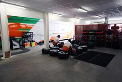 Sahara Force India F1 Team mechanics in the garage area